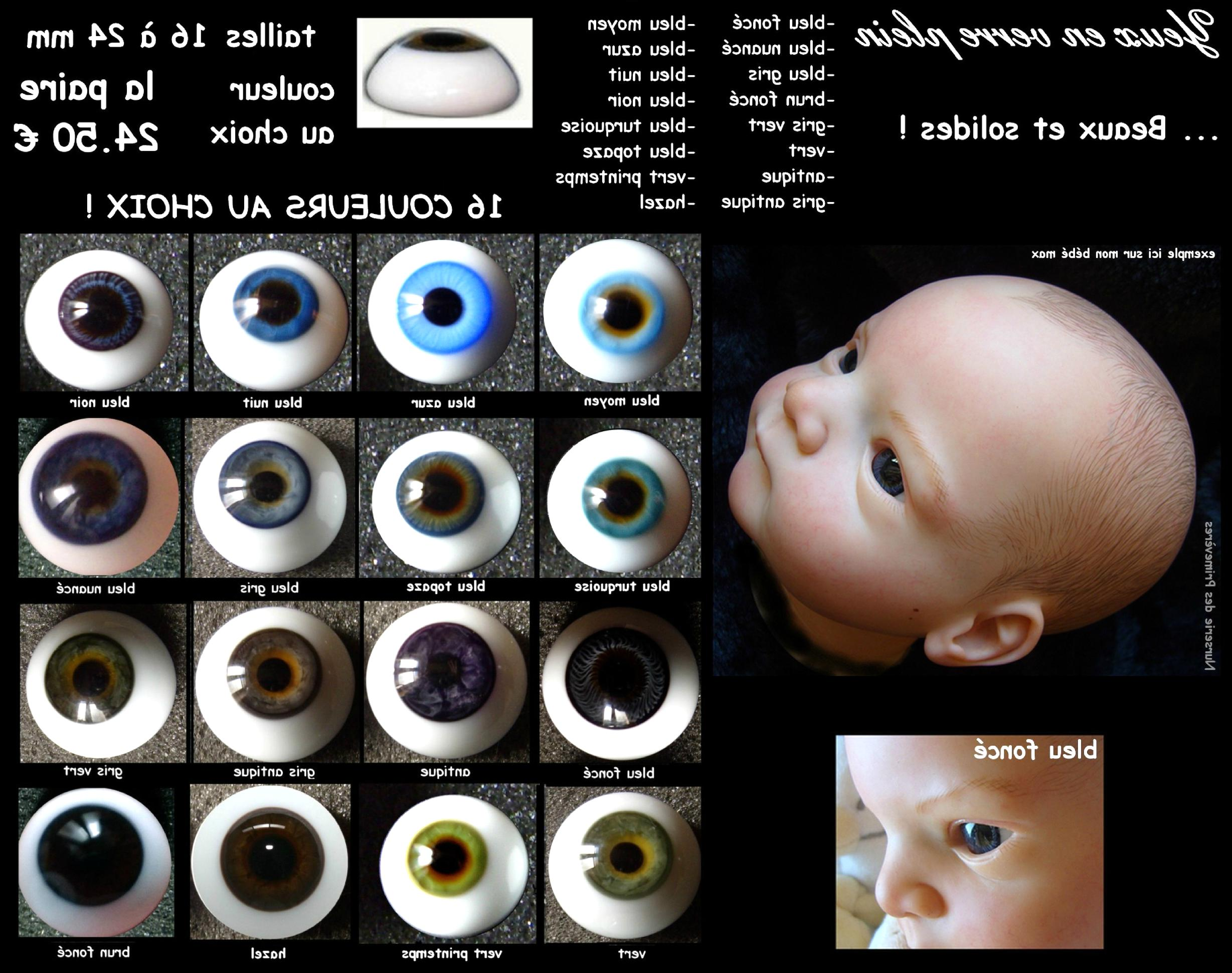 paire yeux demi-rond bleu 26mmR68 poupée MODERNE//Vintage//Reborn Artist doll eyes