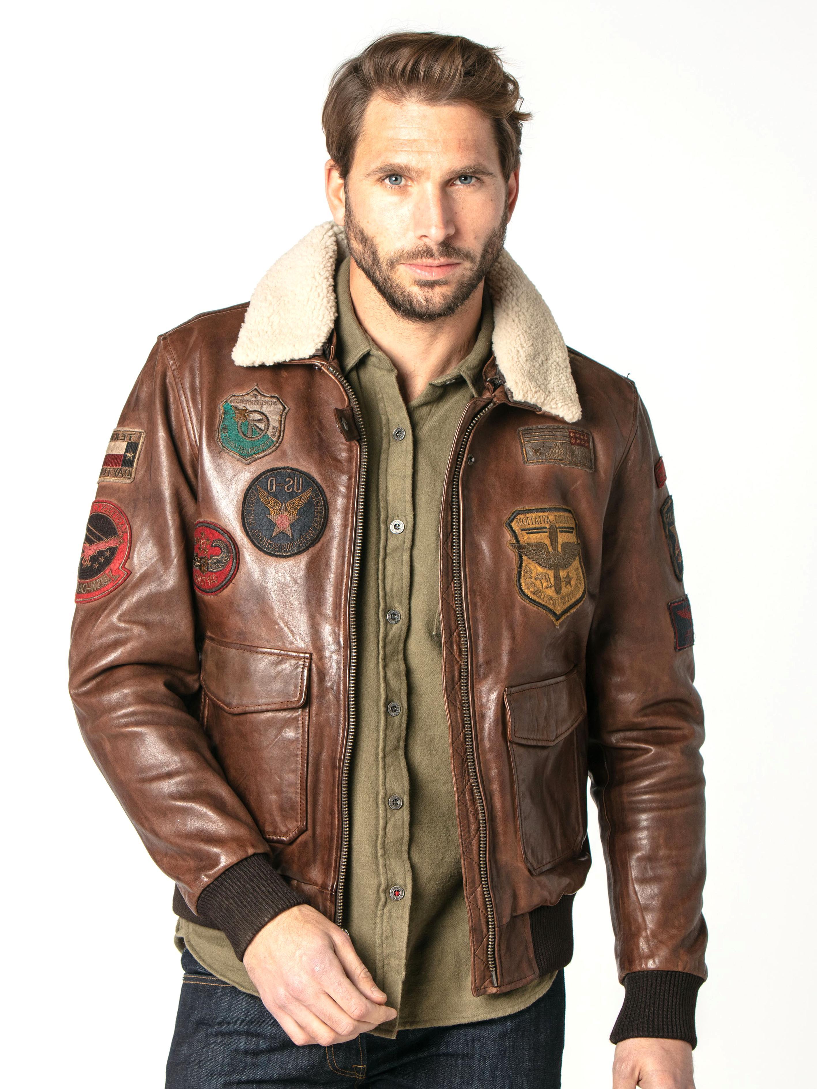 blouson aviateur cuir homme d'occasion