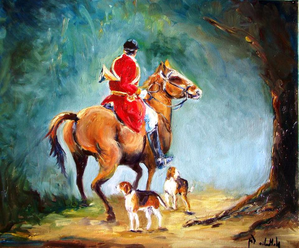 chasse a courre peinture chasse d'occasion