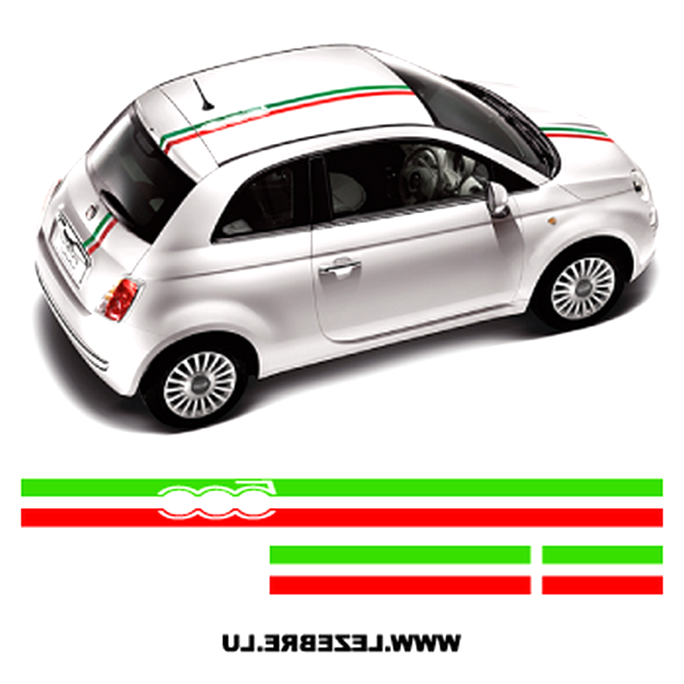 FIAT 500 Drapeau Italien Bande style Stickers Autocollants