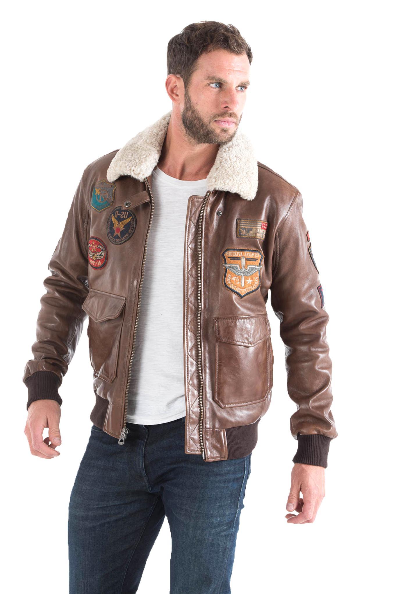 aviateur cuir marron blouson homme d'occasion