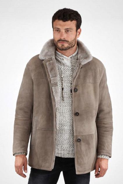Détails sur Veste longue en peau lainée (mouton retournée) PERRY ELLIS pour homme, taille M