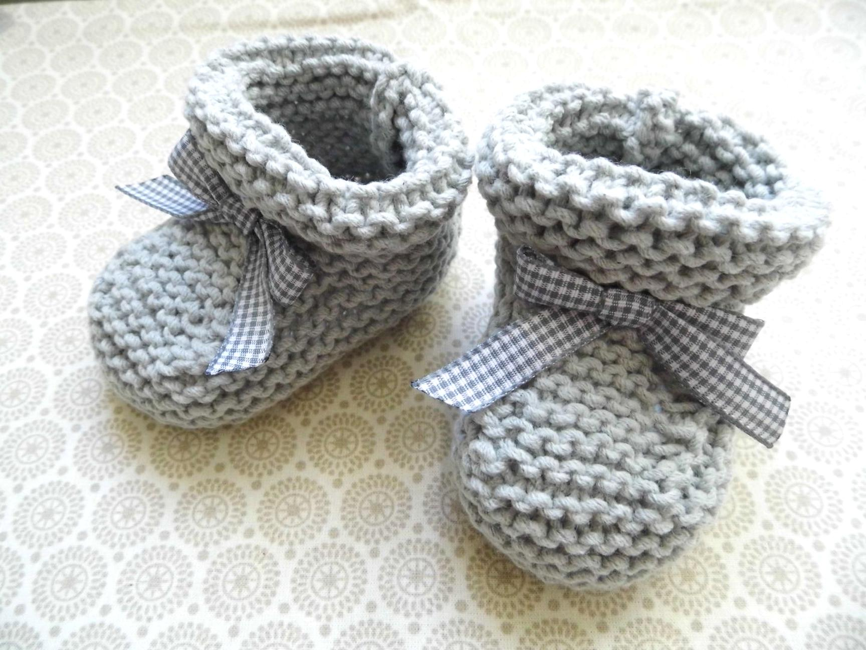 tricot chaussons bebe d'occasion