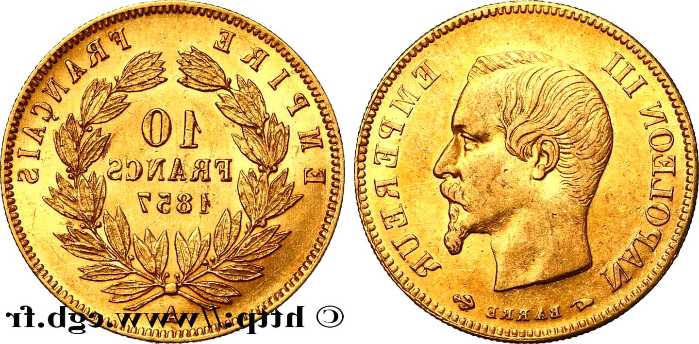 10 francs or napoleon 1857 or d'occasion