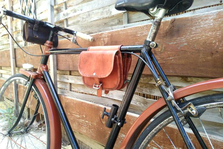 sacoche cuir velo ancien d'occasion