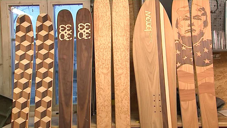 aubaho Paire de Ski Fixation et b/âton de Ski Bois Sport Hiver Skier Ski d/écoration