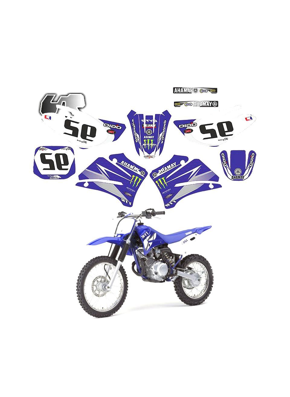 KIT Deco Moto Cross Yamaha PW 50 Factory Rouge 4 MINIS PLAQUES OFFERTES