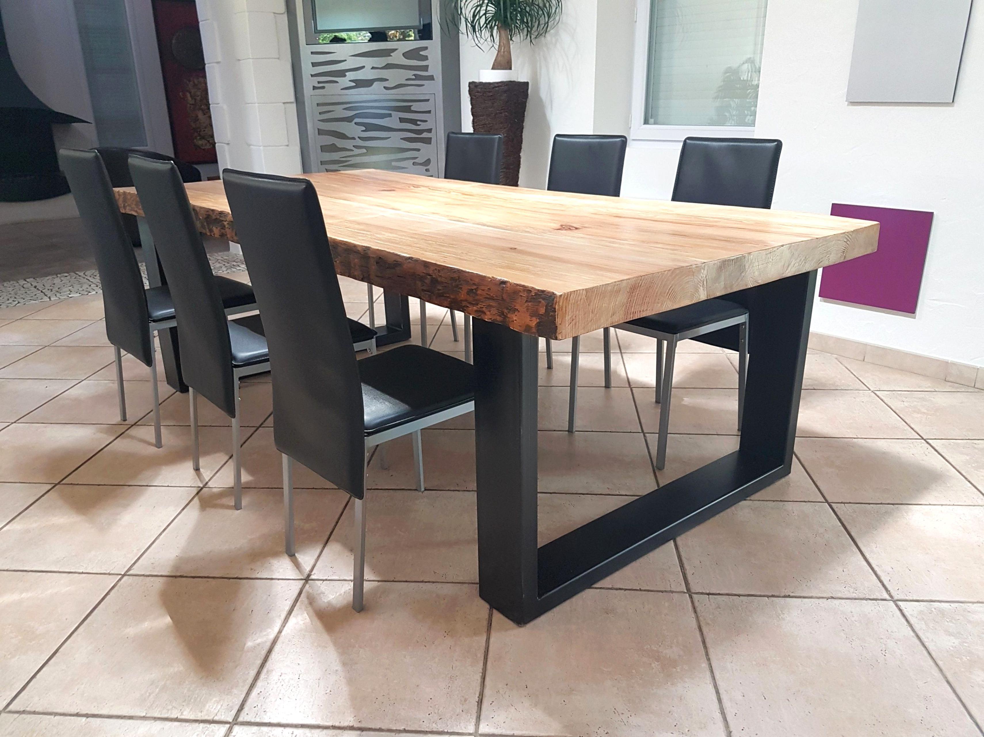 Table salle manger bois metal d occasion - Table salle a manger acier ...