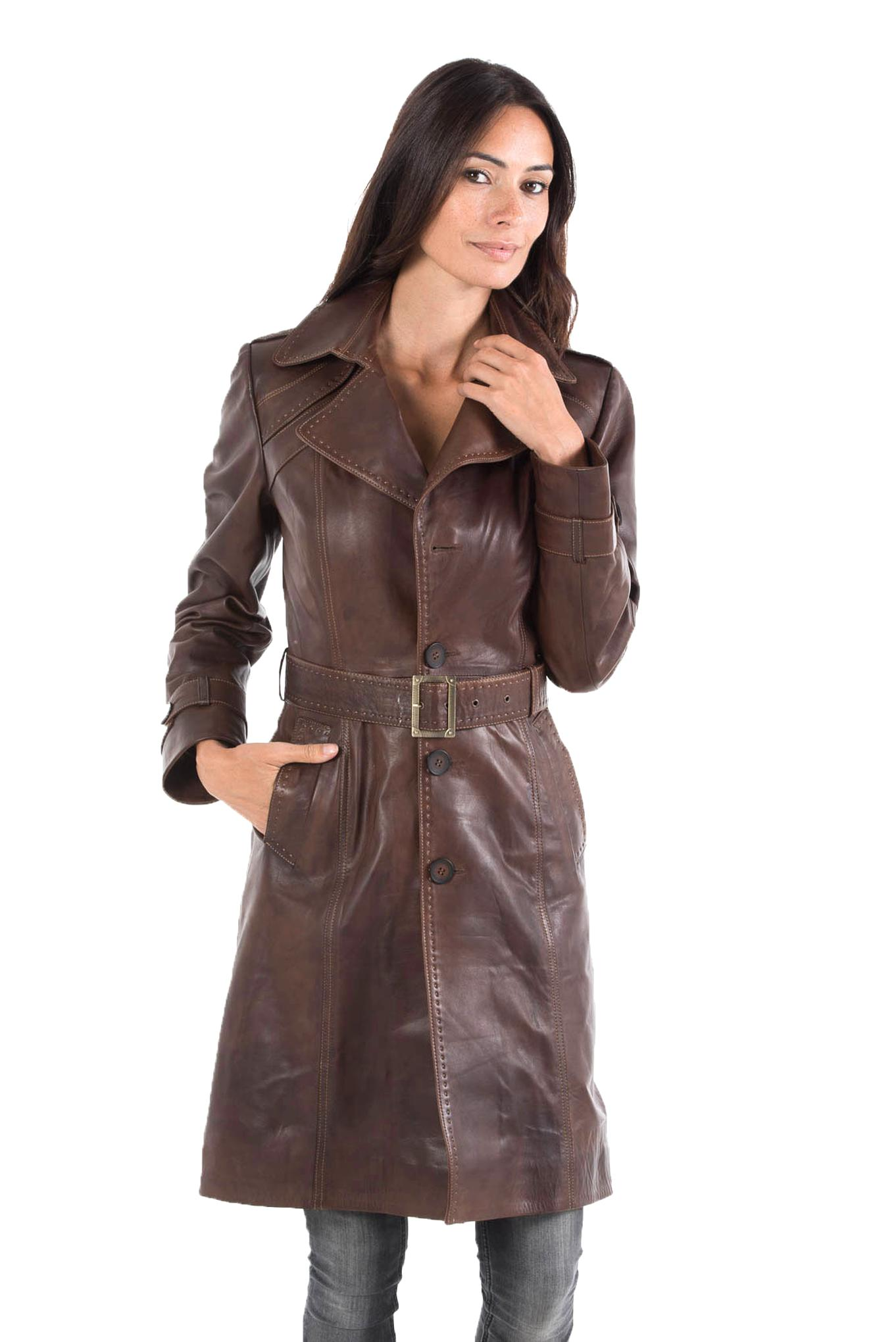 trench cuir marron d'occasion